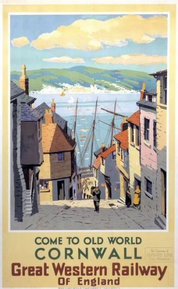 Cornwall, Come to Old World.  Vintage Great Western Railway Travel poster by S I Veale